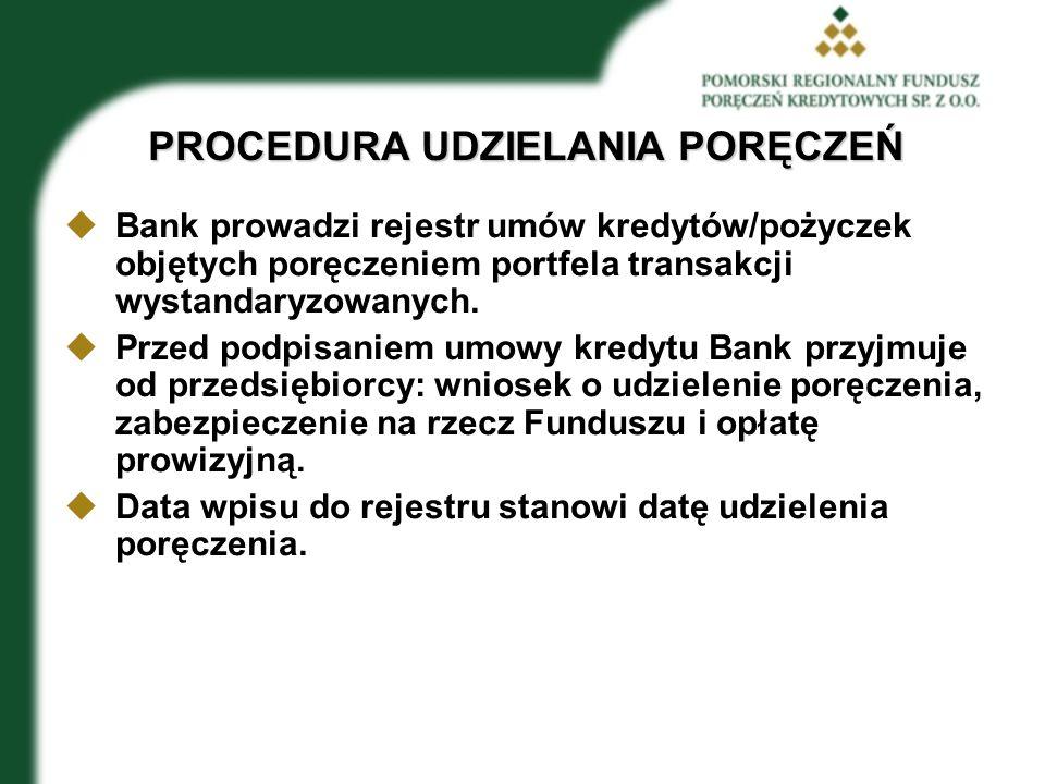 PROCEDURA UDZIELANIA PORĘCZEŃ  Bank prowadzi rejestr umów kredytów/pożyczek objętych poręczeniem portfela transakcji wystandaryzowanych.