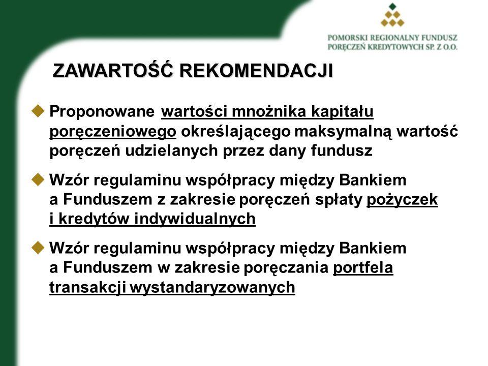 ZAWARTOŚĆ REKOMENDACJI  Proponowane wartości mnożnika kapitału poręczeniowego określającego maksymalną wartość poręczeń udzielanych przez dany fundusz  Wzór regulaminu współpracy między Bankiem a Funduszem z zakresie poręczeń spłaty pożyczek i kredytów indywidualnych  Wzór regulaminu współpracy między Bankiem a Funduszem w zakresie poręczania portfela transakcji wystandaryzowanych
