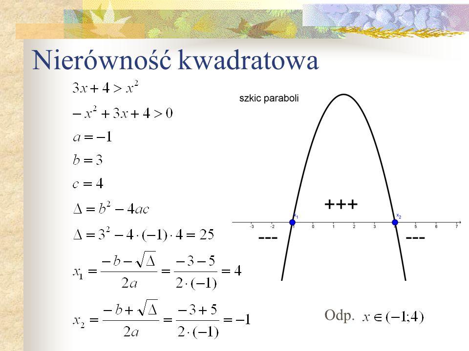 Nierówność kwadratowa Odp.