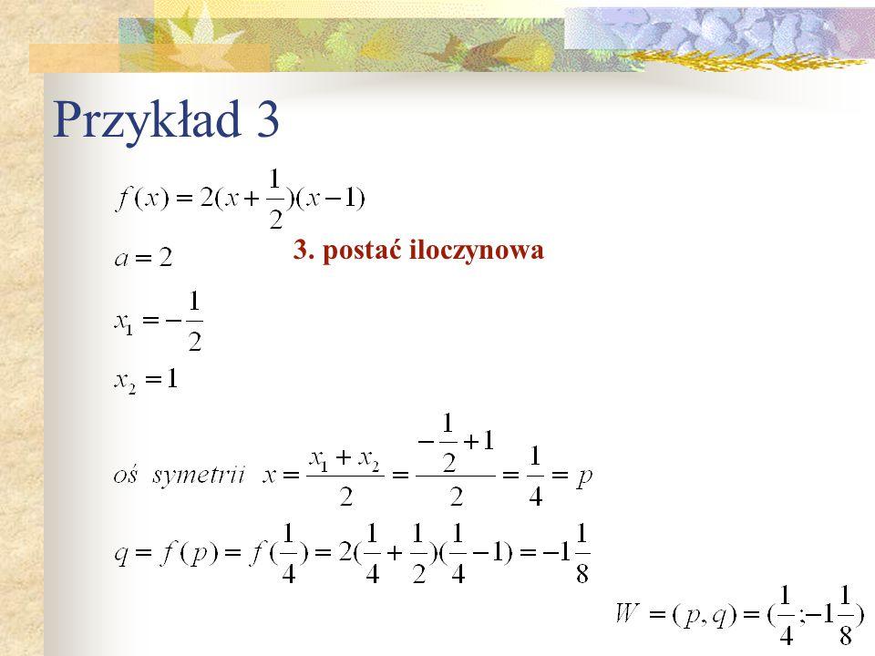Przykład 3 3. postać iloczynowa