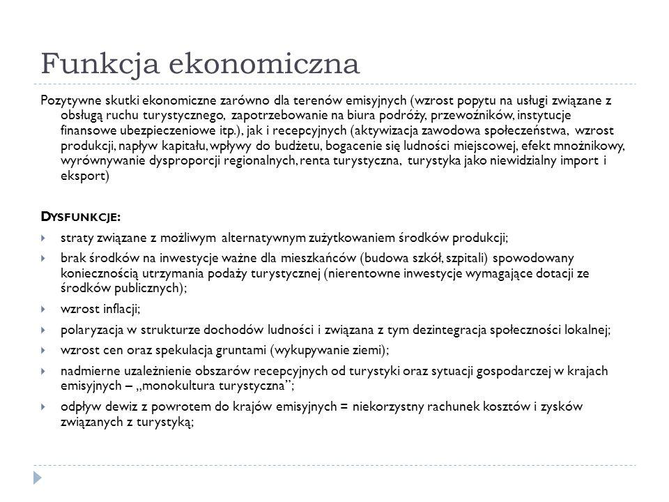 Funkcja ekonomiczna Pozytywne skutki ekonomiczne zarówno dla terenów emisyjnych (wzrost popytu na usługi związane z obsługą ruchu turystycznego, zapot