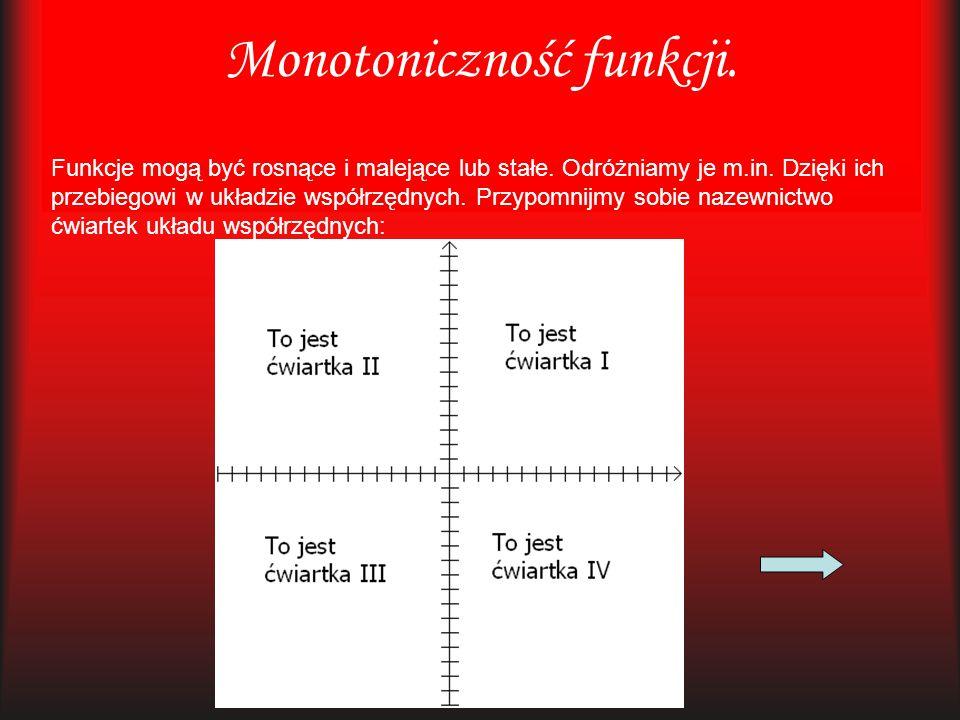 Monotoniczność funkcji. Funkcje mogą być rosnące i malejące lub stałe. Odróżniamy je m.in. Dzięki ich przebiegowi w układzie współrzędnych. Przypomnij