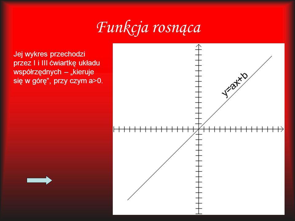"""Funkcja rosnąca Jej wykres przechodzi przez I i III ćwiartkę układu współrzędnych – """"kieruje się w górę"""", przy czym a>0."""