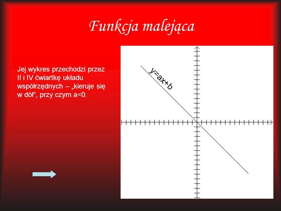 """Funkcja malejąca Jej wykres przechodzi przez II i IV ćwiartkę układu współrzędnych – """"kieruje się w dół"""", przy czym a<0."""