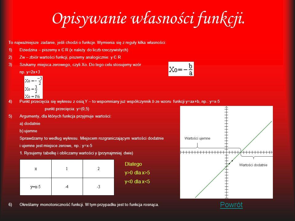 Opisywanie własności funkcji. To najważniejsze zadanie, jeśli chodzi o funkcje. Wymienia się z reguły kilka własności: 1)Dziedzina – piszemy x Є R (x