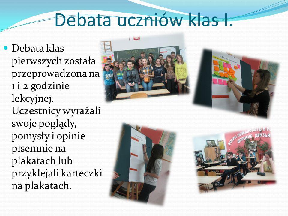 Debata uczniów klas I.Debata klas pierwszych została przeprowadzona na 1 i 2 godzinie lekcyjnej.