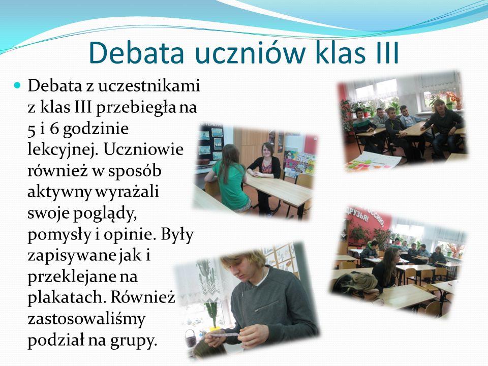 Debata uczniów klas III Debata z uczestnikami z klas III przebiegła na 5 i 6 godzinie lekcyjnej.