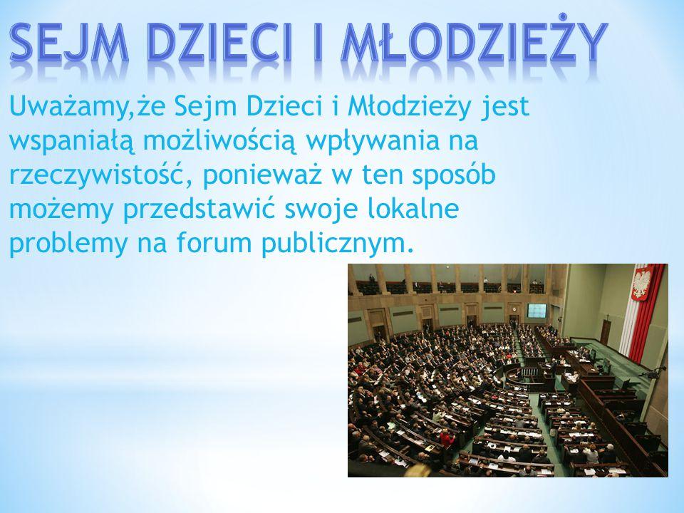 Uważamy,że Sejm Dzieci i Młodzieży jest wspaniałą możliwością wpływania na rzeczywistość, ponieważ w ten sposób możemy przedstawić swoje lokalne probl