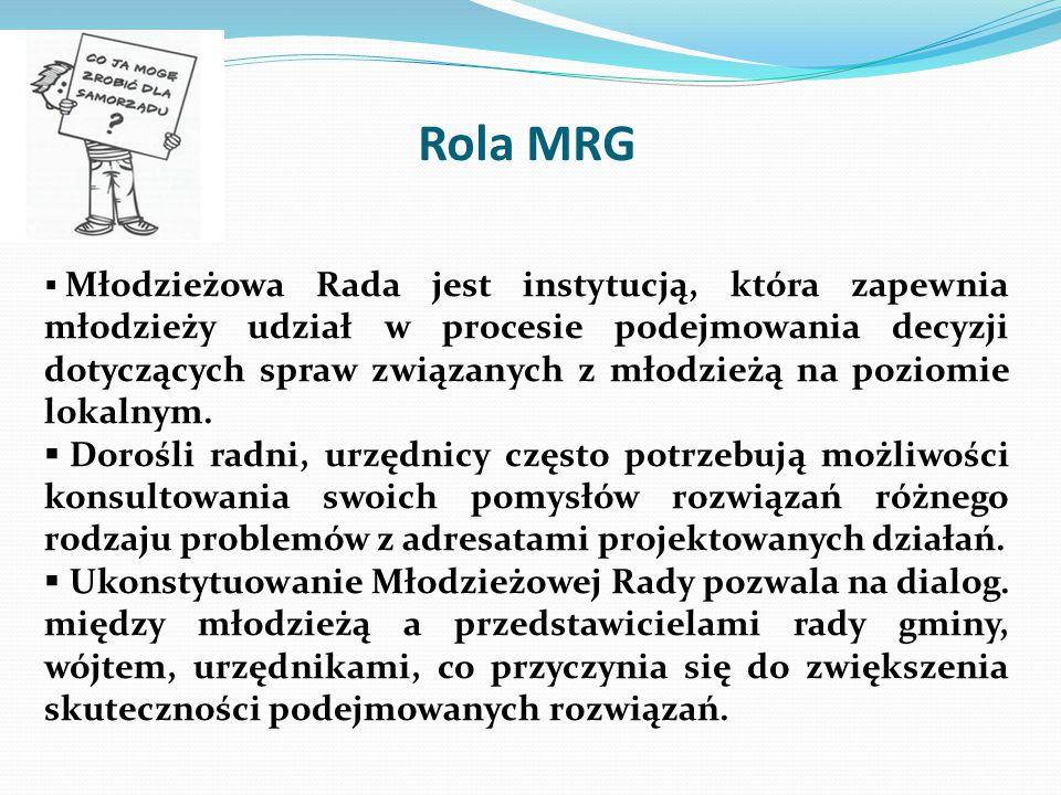 Formalne umocowanie MRG Tworzenie Młodzieżowych Rad Gmin, jest uprawnieniem wynikającym z zapisów Ustawy o samorządzie gminnym z dnia 8 marca 1990 roku.