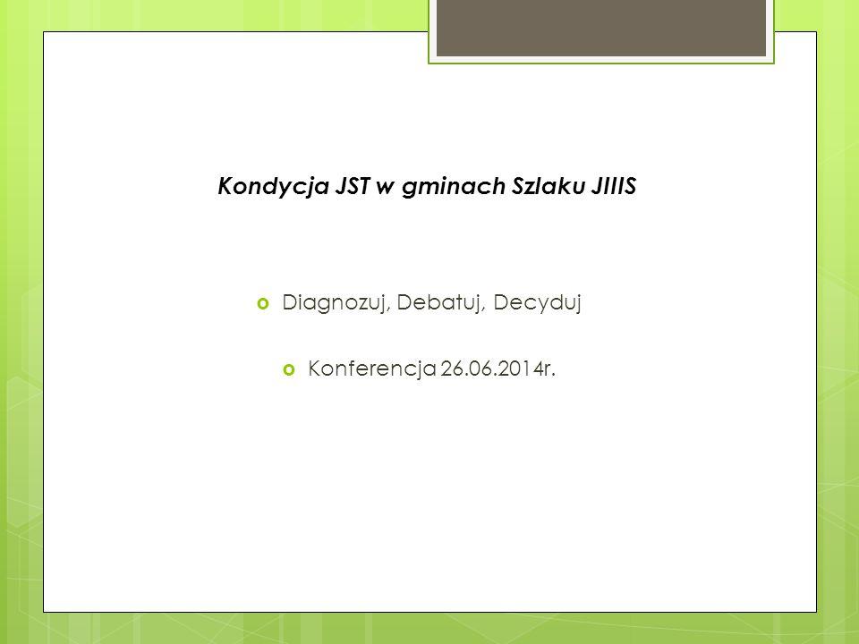 Kondycja JST w gminach Szlaku JIIIS  Diagnozuj, Debatuj, Decyduj  Konferencja 26.06.2014r.