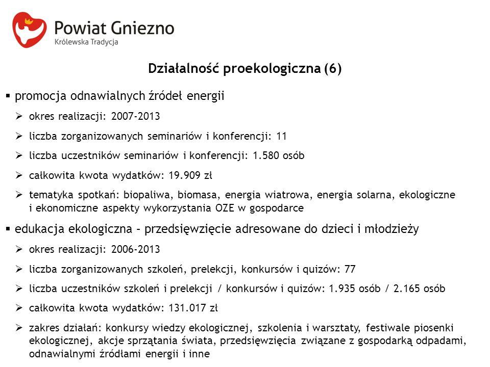 Działalność proekologiczna (6)  promocja odnawialnych źródeł energii  okres realizacji: 2007-2013  liczba zorganizowanych seminariów i konferencji: