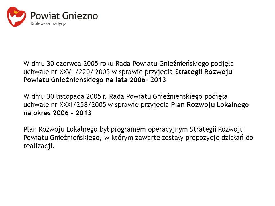 W dniu 30 czerwca 2005 roku Rada Powiatu Gnieźnieńskiego podjęła uchwałę nr XXVII/220/ 2005 w sprawie przyjęcia Strategii Rozwoju Powiatu Gnieźnieńskiego na lata 2006- 2013 W dniu 30 listopada 2005 r.