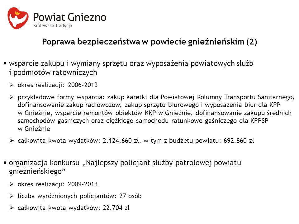 Poprawa bezpieczeństwa w powiecie gnieźnieńskim (2)  wsparcie zakupu i wymiany sprzętu oraz wyposażenia powiatowych służb i podmiotów ratowniczych 
