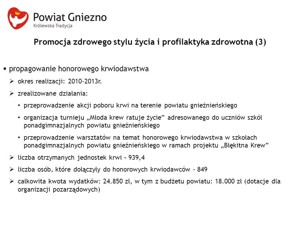 Promocja zdrowego stylu życia i profilaktyka zdrowotna (3)  propagowanie honorowego krwiodawstwa  okres realizacji: 2010-2013r.  zrealizowane dział