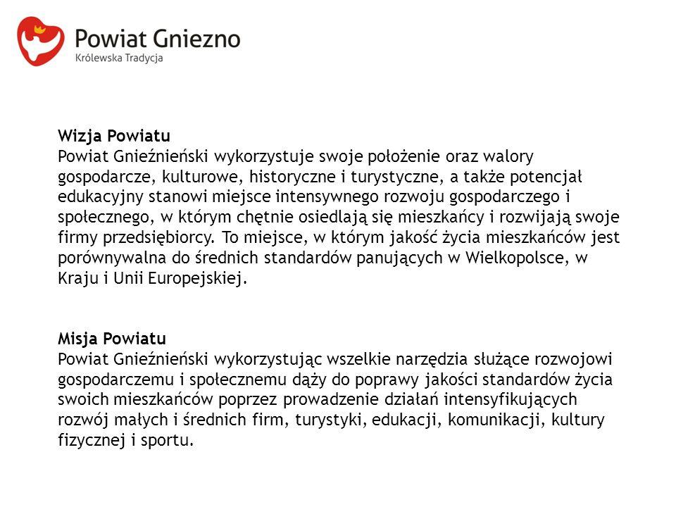 Wizja Powiatu Powiat Gnieźnieński wykorzystuje swoje położenie oraz walory gospodarcze, kulturowe, historyczne i turystyczne, a także potencjał edukac