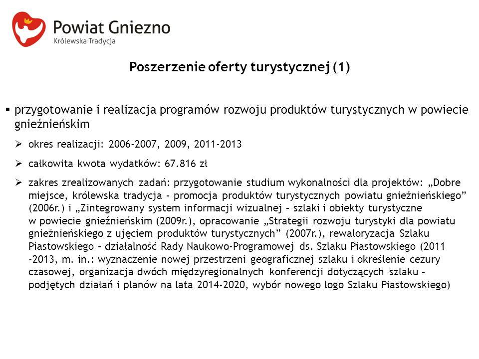 Poszerzenie oferty turystycznej (1)  przygotowanie i realizacja programów rozwoju produktów turystycznych w powiecie gnieźnieńskim  okres realizacji