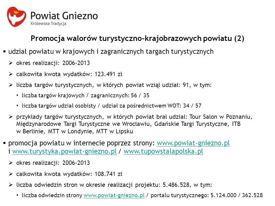 Promocja walorów turystyczno-krajobrazowych powiatu (2)  udział powiatu w krajowych i zagranicznych targach turystycznych  okres realizacji: 2006-20