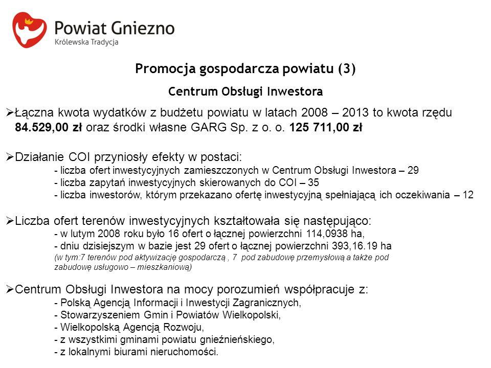 Promocja gospodarcza powiatu (3) Centrum Obsługi Inwestora  Łączna kwota wydatków z budżetu powiatu w latach 2008 – 2013 to kwota rzędu 84.529,00 zł oraz środki własne GARG Sp.
