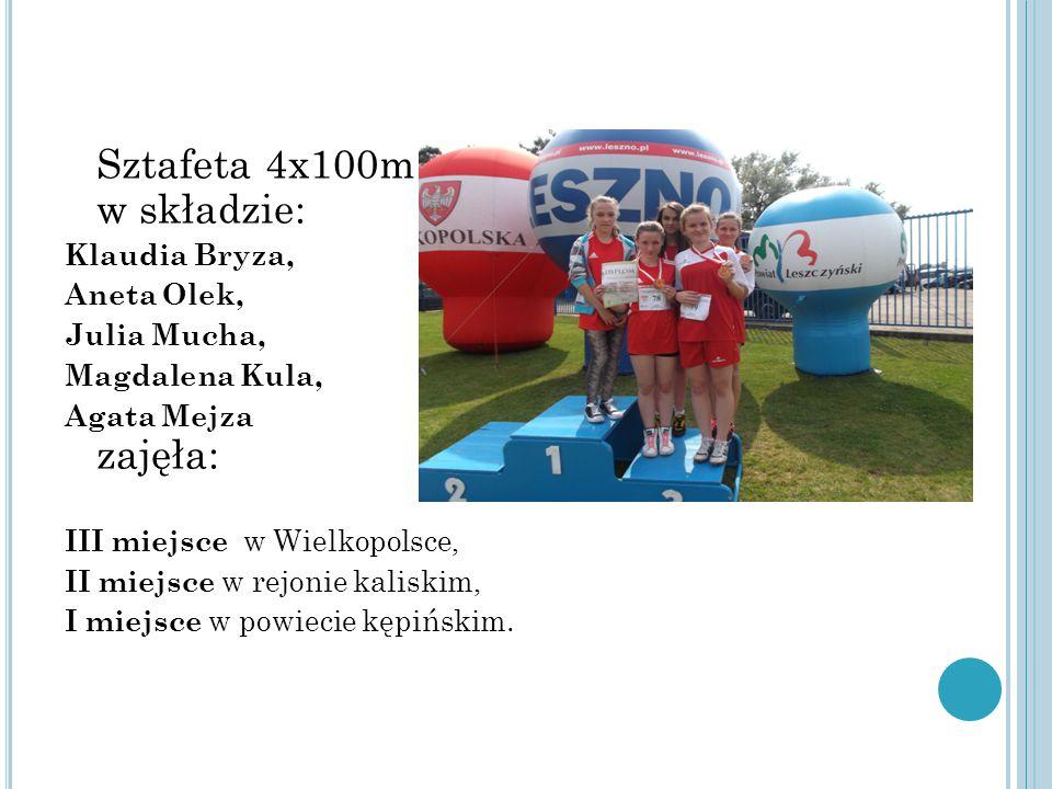 Sztafeta 4x100m w składzie: Klaudia Bryza, Aneta Olek, Julia Mucha, Magdalena Kula, Agata Mejza zajęła: III miejsce w Wielkopolsce, II miejsce w rejonie kaliskim, I miejsce w powiecie kępińskim.