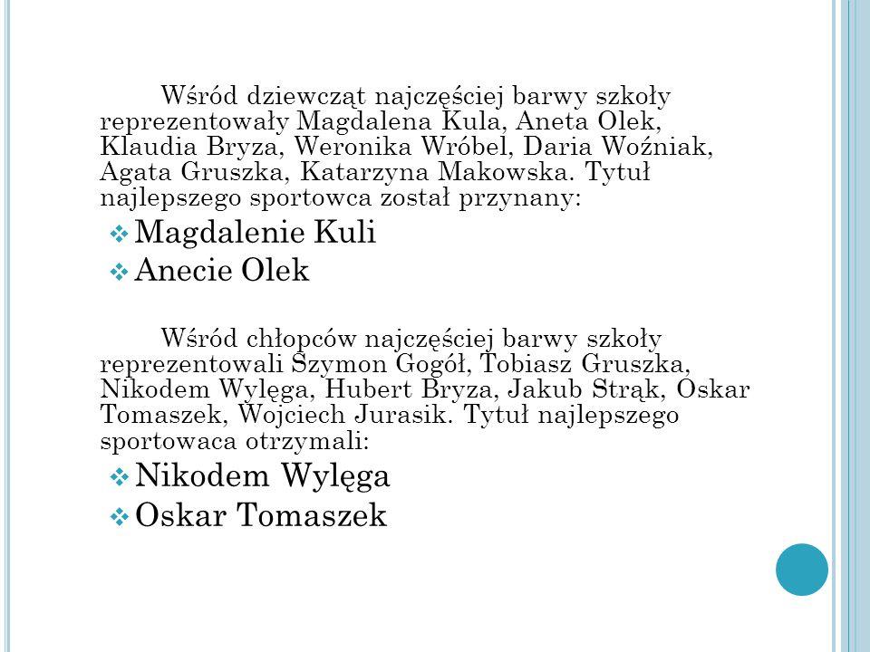 Wśród dziewcząt najczęściej barwy szkoły reprezentowały Magdalena Kula, Aneta Olek, Klaudia Bryza, Weronika Wróbel, Daria Woźniak, Agata Gruszka, Katarzyna Makowska.