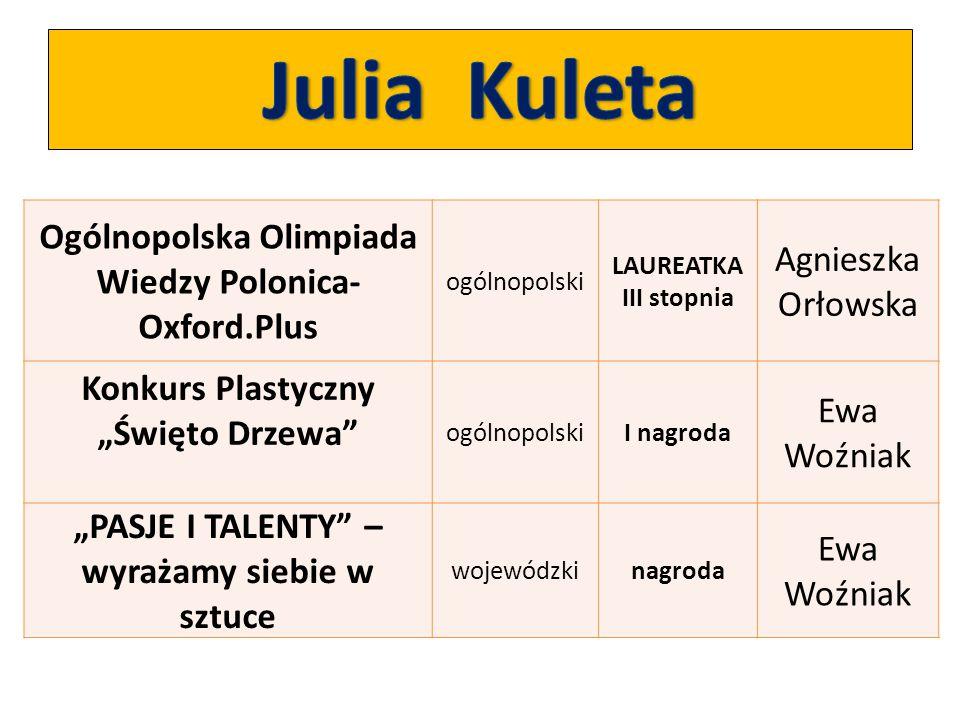 """Ogólnopolska Olimpiada Wiedzy Polonica- Oxford.Plus ogólnopolski LAUREATKA III stopnia Agnieszka Orłowska Konkurs Plastyczny """"Święto Drzewa"""" ogólnopol"""