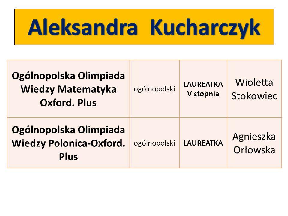 Ogólnopolska Olimpiada Wiedzy Matematyka Oxford. Plus ogólnopolski LAUREATKA V stopnia Wioletta Stokowiec Ogólnopolska Olimpiada Wiedzy Polonica-Oxfor