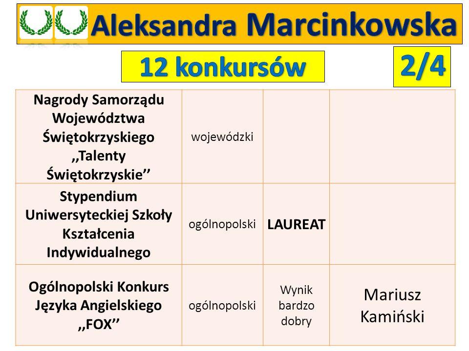 Nagrody Samorządu Województwa Świętokrzyskiego,,Talenty Świętokrzyskie'' wojewódzki Stypendium Uniwersyteckiej Szkoły Kształcenia Indywidualnego ogóln