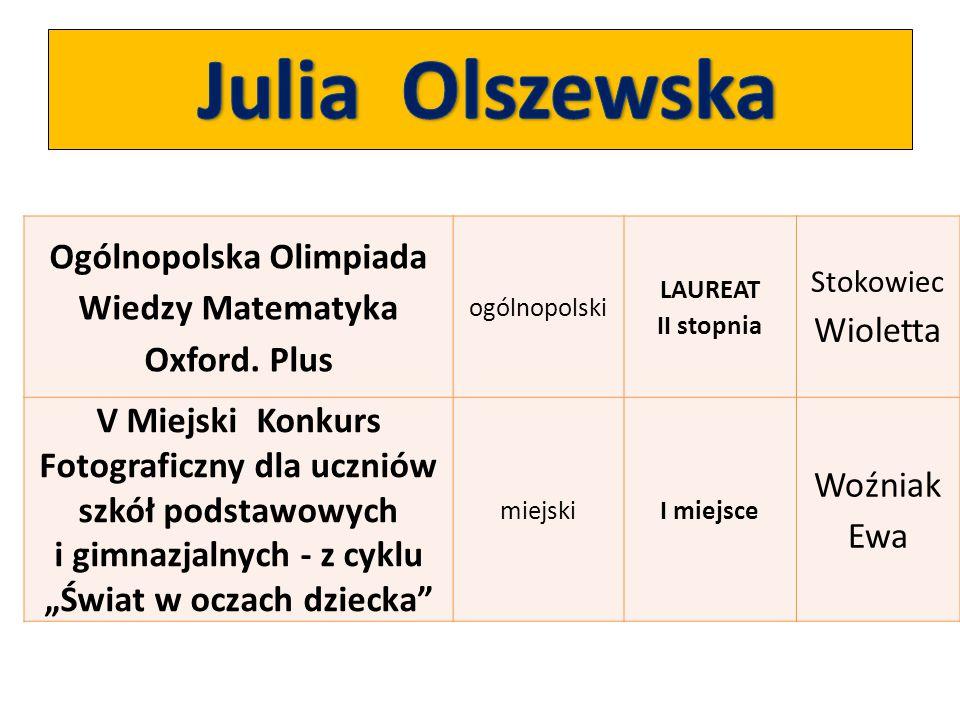 Ogólnopolska Olimpiada Wiedzy Matematyka Oxford. Plus ogólnopolski LAUREAT II stopnia Stokowiec Wioletta V Miejski Konkurs Fotograficzny dla uczniów s