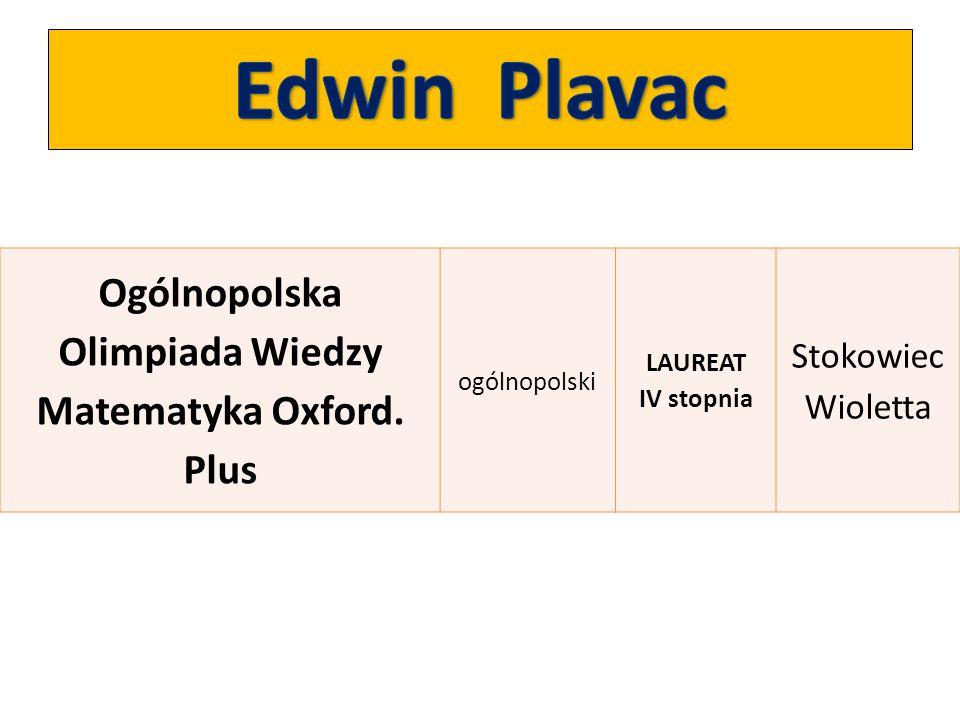 Ogólnopolska Olimpiada Wiedzy Matematyka Oxford. Plus ogólnopolski LAUREAT IV stopnia Stokowiec Wioletta