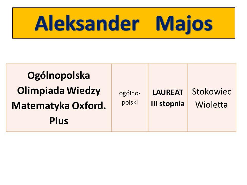 Ogólnopolska Olimpiada Wiedzy Matematyka Oxford. Plus ogólno- polski LAUREAT III stopnia Stokowiec Wioletta