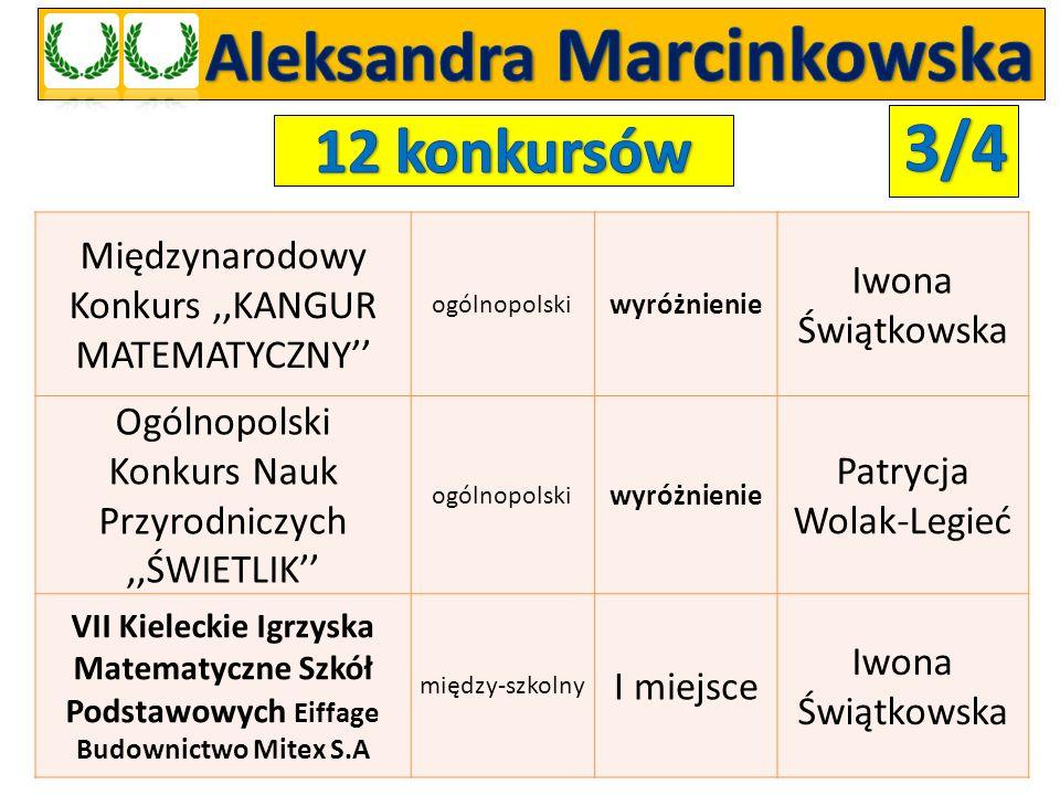 Międzynarodowy Konkurs,,KANGUR MATEMATYCZNY'' ogólnopolski wyróżnienie Iwona Świątkowska Ogólnopolski Konkurs Nauk Przyrodniczych,,ŚWIETLIK'' ogólnopo