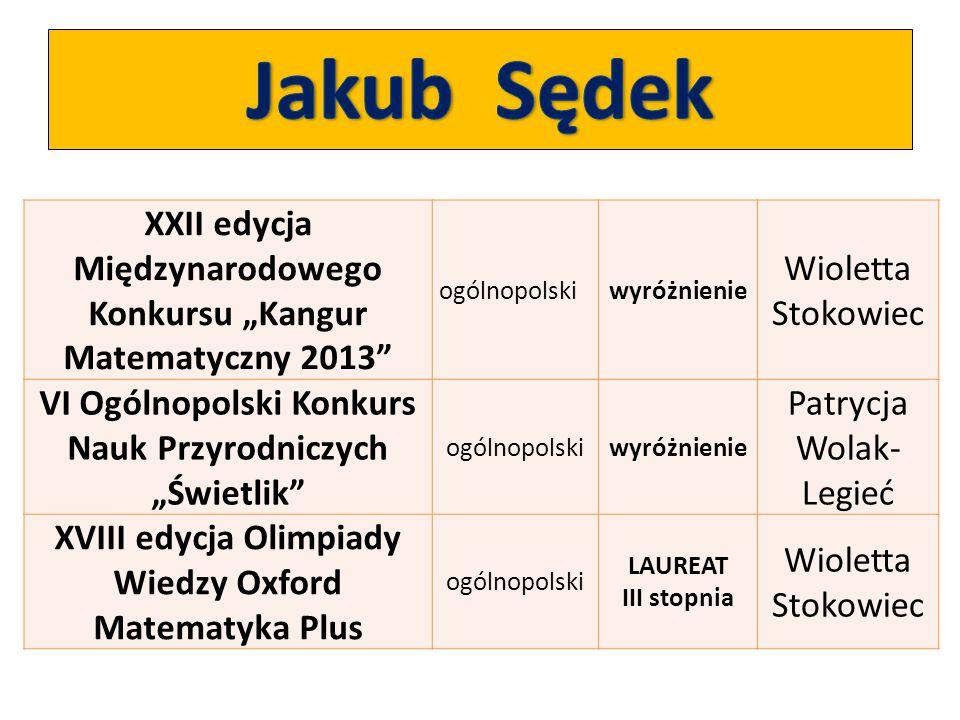 """XXII edycja Międzynarodowego Konkursu """"Kangur Matematyczny 2013"""" ogólnopolskiwyróżnienie Wioletta Stokowiec VI Ogólnopolski Konkurs Nauk Przyrodniczyc"""