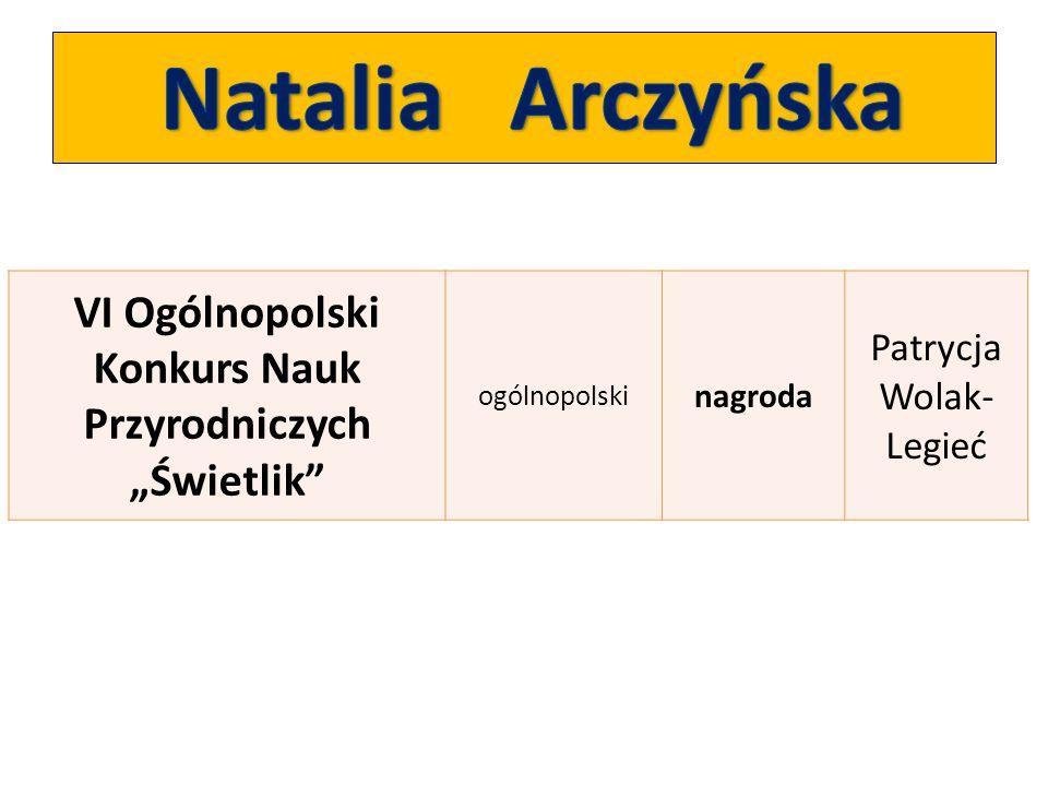 """VI Ogólnopolski Konkurs Nauk Przyrodniczych """"Świetlik"""" ogólnopolski nagroda Patrycja Wolak- Legieć"""