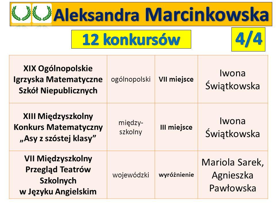 Ogólnopolska Olimpiada Wiedzy Polonica- Oxford.Plus ogólnopolski LAUREATKA IV stopnia Agnieszka Orłowska Ogólnopolska Olimpiada Wiedzy Matematyka Oxford.