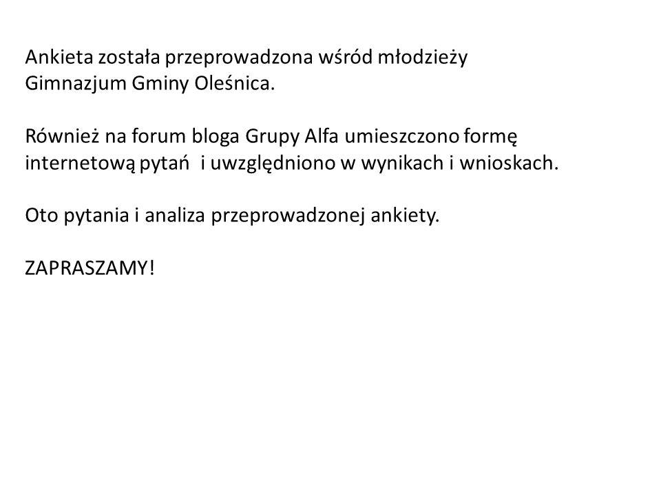 Ankieta została przeprowadzona wśród młodzieży Gimnazjum Gminy Oleśnica. Również na forum bloga Grupy Alfa umieszczono formę internetową pytań i uwzgl