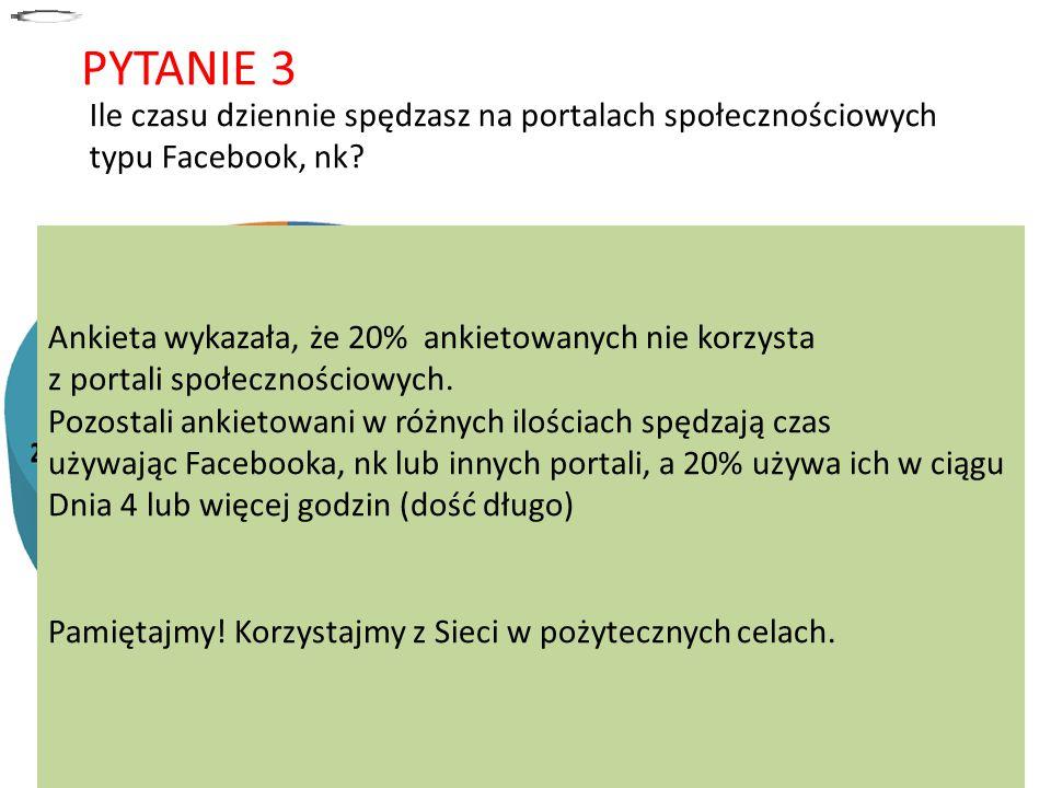 PYTANIE 3 Ile czasu dziennie spędzasz na portalach społecznościowych typu Facebook, nk? a)około 10 minut b)około pół godziny c)około 1 godziny d)2 god