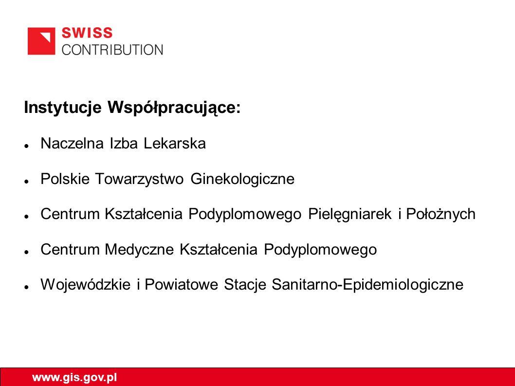 Instytucje Współpracujące: Naczelna Izba Lekarska Polskie Towarzystwo Ginekologiczne Centrum Kształcenia Podyplomowego Pielęgniarek i Położnych Centrum Medyczne Kształcenia Podyplomowego Wojewódzkie i Powiatowe Stacje Sanitarno-Epidemiologiczne www.gis.gov.pl