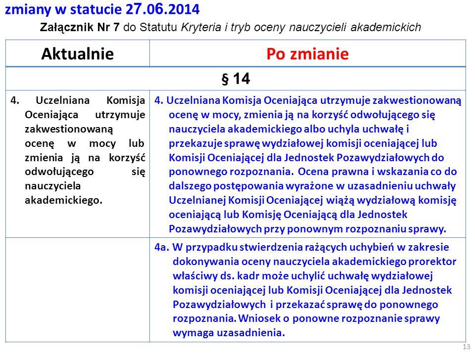 zmiany w statucie 2 7.0 6.2014 AktualniePo zmianie § 14 4.