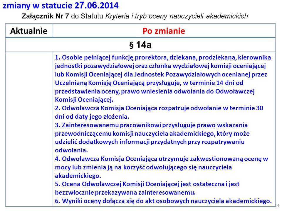 zmiany w statucie 2 7.0 6.2014 AktualniePo zmianie § 14a 1.