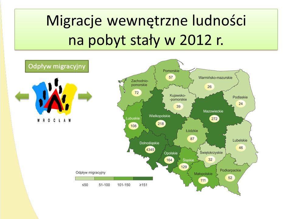 Migracje wewnętrzne ludności na pobyt stały w 2012 r. Migracje wewnętrzne ludności na pobyt stały w 2012 r. Odpływ migracyjny