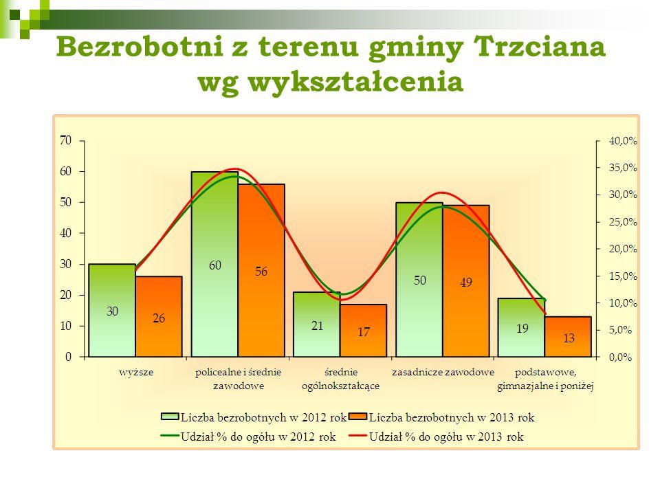 Bezrobotni z terenu gminy Trzciana wg wykształcenia