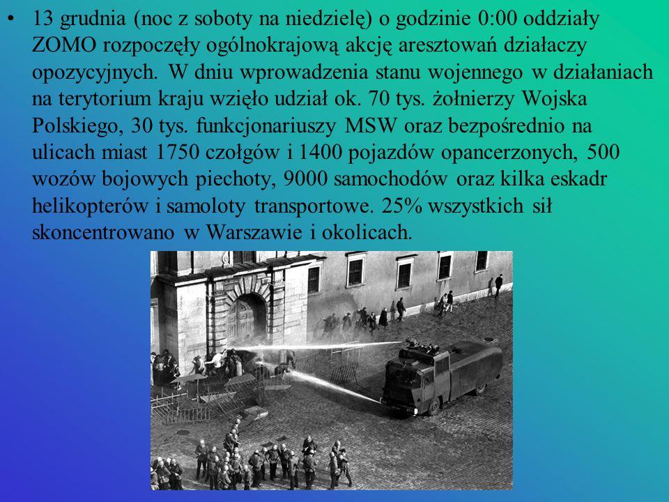 13 grudnia (noc z soboty na niedzielę) o godzinie 0:00 oddziały ZOMO rozpoczęły ogólnokrajową akcję aresztowań działaczy opozycyjnych. W dniu wprowadz