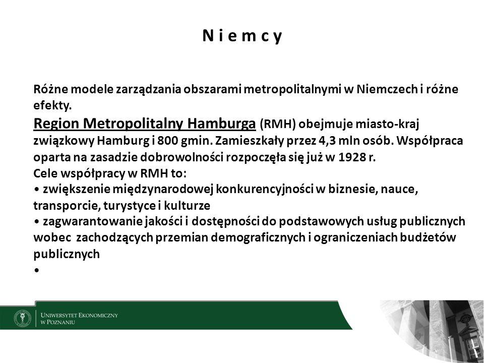 N i e m c y 10 Różne modele zarządzania obszarami metropolitalnymi w Niemczech i różne efekty.