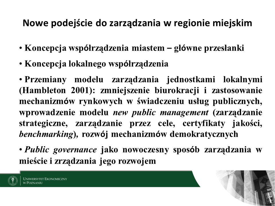 Nowe podejście do zarządzania w regionie miejskim Koncepcja wsp ó łrządzenia miastem – gł ó wne przesłanki Koncepcja lokalnego wsp ó łrządzenia Przemiany modelu zarządzania jednostkami lokalnymi (Hambleton 2001): zmniejszenie biurokracji i zastosowanie mechanizm ó w rynkowych w świadczeniu usług publicznych, wprowadzenie modelu new public management (zarządzanie strategiczne, zarządzanie przez cele, certyfikaty jakości, benchmarking), rozw ó j mechanizm ó w demokratycznych Public governance jako nowoczesny spos ó b zarządzania w mieście i zrządzania jego rozwojem 5