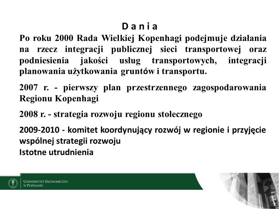 D a n i a 9 Po roku 2000 Rada Wielkiej Kopenhagi podejmuje działania na rzecz integracji publicznej sieci transportowej oraz podniesienia jakości usług transportowych, integracji planowania użytkowania grunt ó w i transportu.