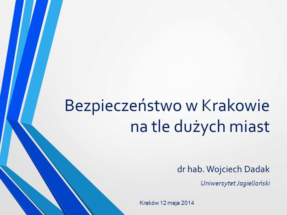 Bezpieczeństwo w Krakowie na tle dużych miast dr hab. Wojciech Dadak Uniwersytet Jagielloński Kraków 12 maja 2014