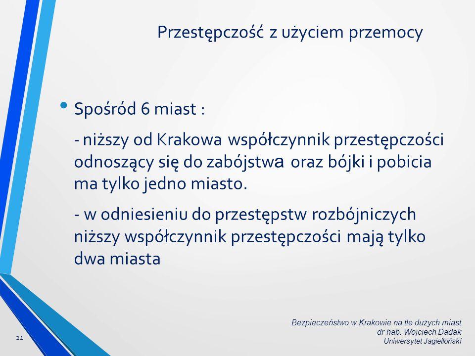 Spośród 6 miast : -niższy od Krakowa współczynnik przestępczości odnoszący się do zabójstw a oraz bójki i pobicia ma tylko jedno miasto. - w odniesien