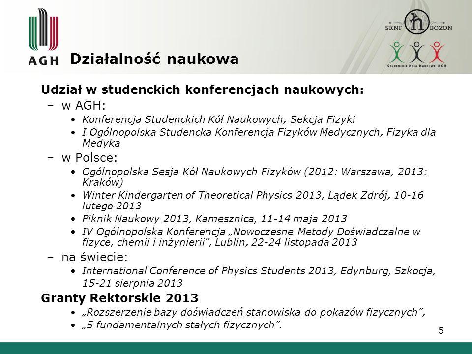 5 Udział w studenckich konferencjach naukowych: –w AGH: Konferencja Studenckich Kół Naukowych, Sekcja Fizyki I Ogólnopolska Studencka Konferencja Fizy