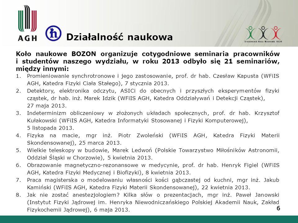 66 Koło naukowe BOZON organizuje cotygodniowe seminaria pracowników i studentów naszego wydziału, w roku 2013 odbyło się 21 seminariów, między innymi: