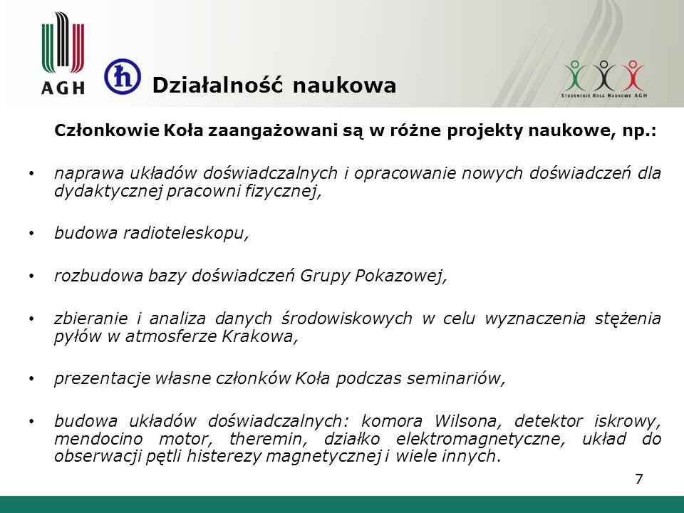 W dniach 7-10 listopada 2013 w Krakowie odbyła się XII Ogólnopolska Sesja Kół Naukowych Fizyków zorganizowana przez SKNF Bozon przy udziale Koła Matematyczno- Przyrodniczego Studentów Uniwersytetu Jagiellońskiego.